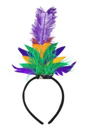 11in Tall x 7in Wide Purple/ Green/ Gold Mardi Gras Feather Hair Clip/Tiara