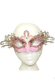 Pink and Gold Venetian Masquerade Mask with Gold Metal Laser Cut and Crystals