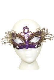 9in Wide x 4 Tall Purple/Gold Venetian Hand Painted Papier Mache Mask w/ Gold Metal Laser Cut and Crystals on Eyes