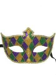 Paper Mache Masks: Purple, Green, and Gold Domino Patches