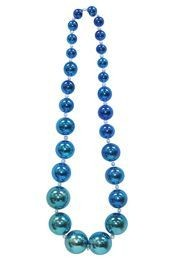 Graduated Blue (Faded) Metallic Round Ball Necklace
