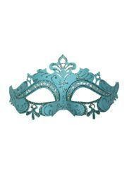 Venetian Masks: Light Blue Masquerade Eye Mask with Rhinestones