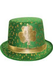11 1/2in Tall x 5in Wide Velvet Shamrock Top Hat