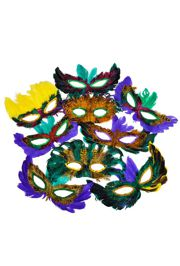 Assorted Colors Deluxe Mardi Gras Masquerade Feather Mask