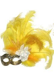 Venetian Masquerade Masks: Black and Gold Mask with Ostrich and Capon Feathers