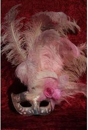 7in Wide x 20in Tall Light Pink Paper Mache Venetian Mask W/Glittery Scrollwork and Ringstones Around The Eyes W/ Ostrich and Capon Feathers