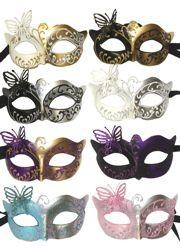 Paper Mache Masks: Assorted Color Butterfly Venetian