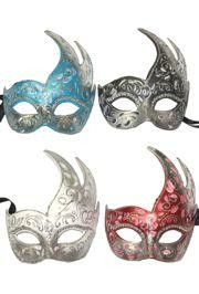 Assorted Venetian Hand Painted Paper Mache Masquerade Mask with Silver Glittery Scrollwork and Rhinestones