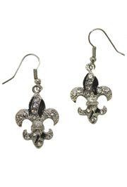 1.5in Long x 0.75in Wide Silver Fleur-De-Lis Earrings w/ Rhinestones