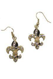 1.5in Long x 0.75in Wide Gold Fleur-De-Lis Earrings w/ Rhinestones