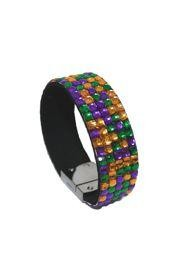 7.5in Long x 0.75in Wide Mardi Gras Gemstone Grid Bracelet