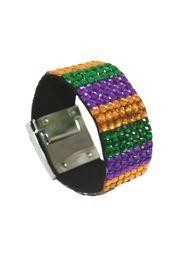 8.75in Long x 1in Wide Mardi Gras Gemstone Grid Bracelet