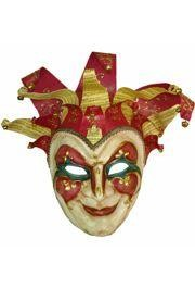 Wall Masks: Red Paper Mache Jester with Hat