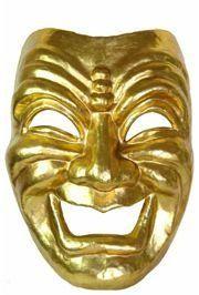Jumbo Masks: Gold Paper Mache Comedy Venetian