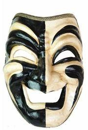 Jumbo Masks: Black and Gold Paper Mache Comedy Venetian