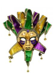 Purple, Green, and Gold Hand Painted Paper Mache Venetian Jester Masquerade Mask