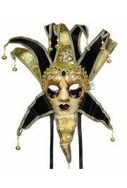 Black and Gold Venetian Jester Masquerade Mask