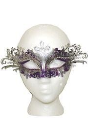 Venetian Masks: Purple and Silver with Silver Laser Cut Metal