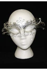Venetian Masquerade Masks: White and Silver with Silver Laser Cut Metal