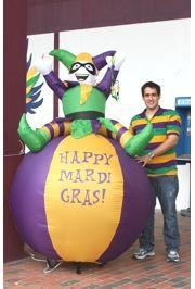 8 ft Tall Mardi Gras Light Up Inflatable Balloon