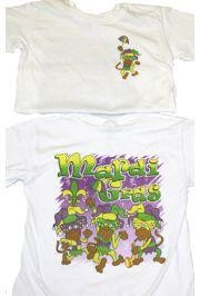 Mardi Gras Long Sleeve T-Shirt w/ Glittered Monkeys Design X-Large Size