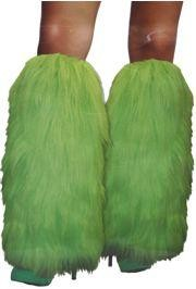 17in Long Neon Green Furry Leg Warmers