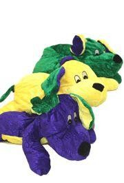 13in Long x 9in Wide Assorted Colors Purple/ Green/ Gold Mardi Gras Plush Dog