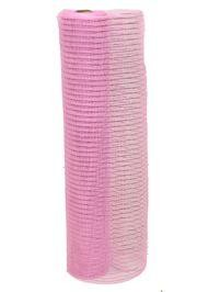 21in x 30ft Light Pink Mesh Ribbon w/ Pink Metallic stripes
