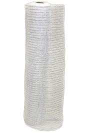 21in x 30ft White Mesh Ribbon w/ Metallic Silver Stripes