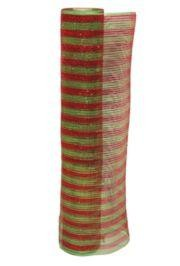 21in x 30ft Sinamay Metallic Red/ Green Mesh Ribbon/ Netting