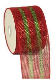 4in x 75ft Sinamay Metallic Red/ Green Color Mesh Ribbon/ Netting