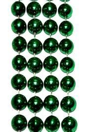 14mm 48in Metallic Green Beads