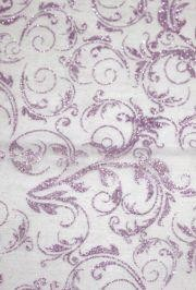 25in x 3Y Le Sheer Purple Leaf Swirl Glitter Material