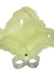 7in Wide x 20in Tall Light Green/ Gold Paper Mache Venetian Mask W/Glittery Scrollwork and Ringstones Around The Eyes W/ Ostrich and Capon Feathers