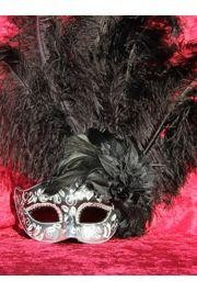 7in Wide x 20in Tall Black/ Silver Paper Mache Venetian Mask W/Glittery Scrollwork and Ringstones Around The Eyes W/ Ostrich and Capon Feathers