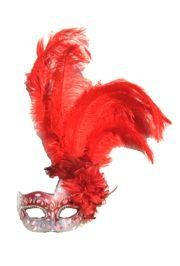 Red and Silver Paper Mache Venetian Masquerade Mask with Ostrich and Capon Feathers
