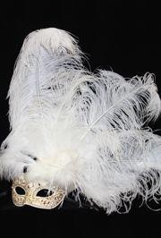 Venetian Masquerade Masks: White and Gold Mask with Ostrich and Capon Feathers