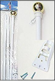 6ft White Steel Flag Pole