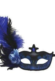 Venetian Masks: Blue and Black Mask with Blue Ostrich Plume and Rose