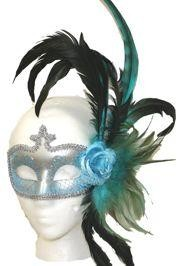 Venetian Masks: Light Blue and Silver Masquerade with Plumes and Rose