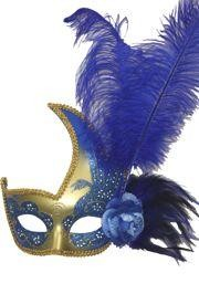 Blue and Gold Venetian Masquerade Mask with Blue Ostrich Plumes and Flower