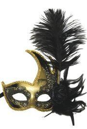 Black and Gold Venetian Masquerade Mask with Black Ostrich Plume and Flower