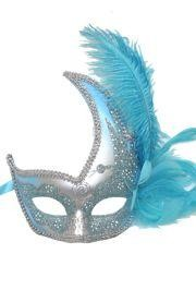 Light Blue and Silver Venetian Masquerade Mask with Light Blue Ostrich Plume and Flower