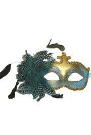 Light Blue and Gold Masquerade Mask with Glittery Patterns and Feathers on the Side