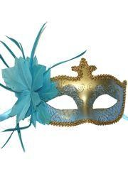Light Blue and Gold Masquerade Mask with Glittery Patterns and Light Blue Feathers