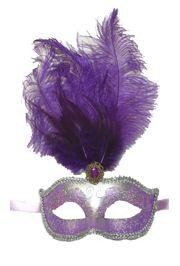 Purple Venetian Masquerade Mask with Purple Small Ostrich Feathers