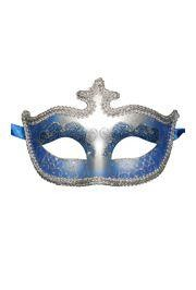Blue and Silver Hand Painted Venetian Masquerade Mask With Glittery Scrollwork