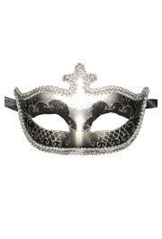 Black and Silver Hand Painted Venetian Masquerade Mask With Metallic Fabric And With Glittery Scrollwork