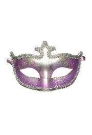 Light Purple and Silver Hand Painted Venetian Masquerade Mask With Metallic Fabric And With Glittery Scrollwork