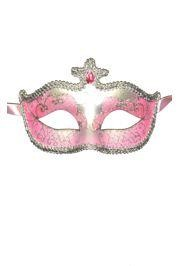 Light Pink and Silver Hand Painted Venetian Masquerade Mask With Metallic Fabric And With Glittery S